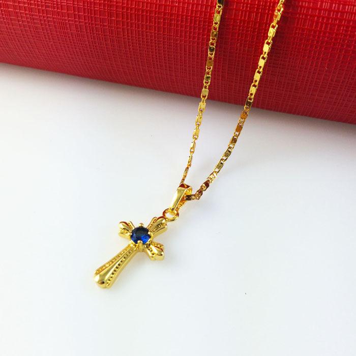 Fashion 24k Gold Fine Cross Pendant NecklacesTiles Chain Blue Crystal Free shipping Top Quality Chrismas Women
