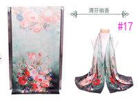 Chinese PanKou style Qingfen fragrance shawl inkjet printing flower vase double-sided painting silk scarf #17