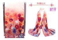 Wonderful Chinese PanKou style Red shawl inkjet printing Flowers double-sided painting silk scarf #19