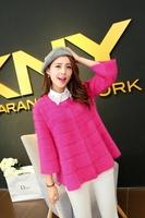 Free shipping 2014 explosion models Hitz Korean Women upscale female long-haired mink cashmere coat jacket