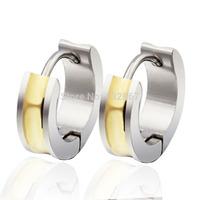 n042 Unique Women Men's Rolling Style Stainless Steel Hoop Earrings Gold Brand New For Girlfrien Boyfriend Gifts