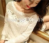 s-XL Hot Sale!New 2014 Lace Blouses Shirt Women Long Sleeve Ladies Lace Blusas Women Tops Floral Crochet T-Shirt Blouse