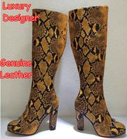Luxury Designer Genuine Leather Sexy Women Knee High Heels Boots Brand Gladiator Snakeskin Winter Autumn Ladies Plus Size Shoes