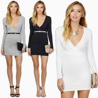 New Spring Vestidos Femininos Curtos 2015 Long Sleeve Robe Femme Work Wear Women's Casual Pencil Dress Black White Grey C635