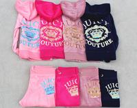 Children's PINK Tracksuits Suits sportswear Trak Suit Girls jogging Suit velvet lady Suits Color :Pink , red, gray .. Size:S-XL