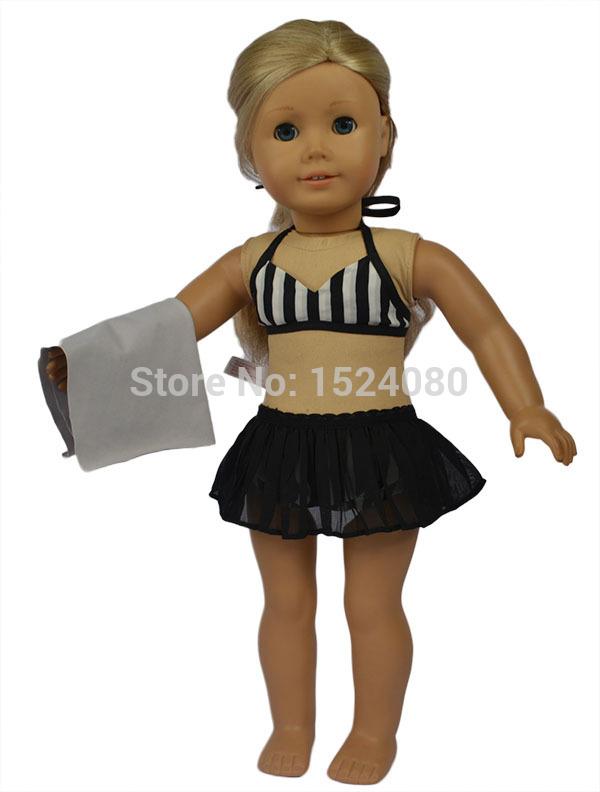 "American girl doll accessories 18"" American girl doll clothes/dresses #54 black color bikini swimwear,free shipping(China (Mainland))"