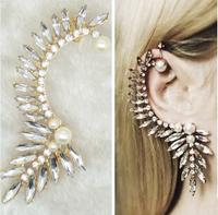 Fashion Ear Hook Crystal Earrings Jacket Women's Rhinestones South Sea Pearl Earrings Brand Jewelry