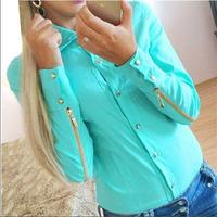 2015 New Blended Cotton Shirts Rivet Long sleeve Casual Zipper  White Sky Blue Pink Plus Size Women's Clothing Blouses Chiffon