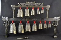 Old Decorated Handwork Copper & Alloy Carving 12 Bell Dragon Instrument Chime Tibetan Antique Copper Bronze