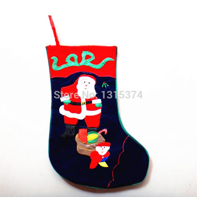 High-grade composite blue velvet embroidered Christmas stockings 20*40*30 cm Santa Claus Christmas stockings(China (Mainland))