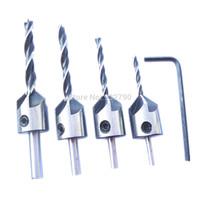 4pcs Hss 5 Flute Three Sharp Countersink Drill Bit Set Reamer Woodworking Chamfer Woodworker Core Drill Bit 3mm-6mm +1pc Wrench