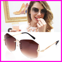 Top Quality Women Brand Gradient Rimless Sunglasses Polarized Sun Glasses Female Elegant Designer Glasses