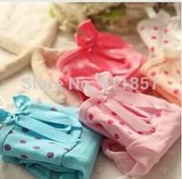 5pcs/lot panties sexy gauze dot bow thin breathable cotton briefs panty low-waist
