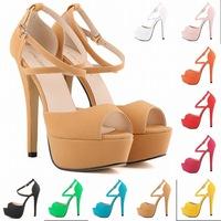 2015 women high heels sandal cross buckle peep toe platform sandals sandalias femininas sandalia rasteirinha feminina size 35-42