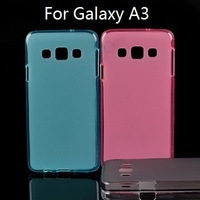 70 PCS/LOT Semi Transparent TPU Pudding Case For Samsung Galaxy A3, 4 Colors, Mix Color Support,Free Shipping