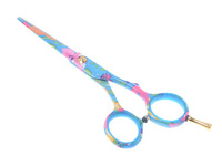 5.5inch Colorful Light Bule Hair Cutting Scissors,Professional Shear Scissors  for Hairdressers with Flowers,JP440C,Good Quality