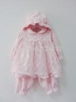 Very cute baby dress set with 4-pcs,100% cotton velvet pink 4-piece set