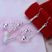 Fashion 925 Sterling Silver womens women Female earrings hook Bright Frosted bead drop dangle girl friend birthday gift box KE06
