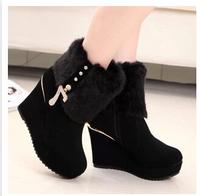 Women's Winter Wedge Ankle Boots Heels Platform Fur Boots For Women Wedges Pumps Shoes Black With Zip SZHPL808