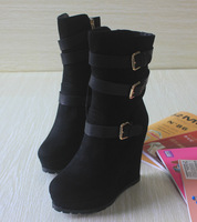 Autumn and winter black velvet hasp wedges knee-high boots brief comfortable martin boots