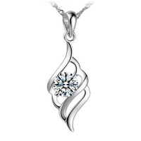 Valentine's day gift Lithe Feather crystal Silver pendant, fashion female silver gift pendant, 29.20001.Free shipping