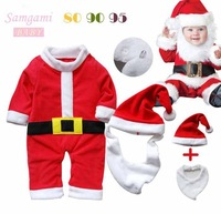 New Red Christmas Costumes for Boys Long Sleeve Fleece Baby Romper Cap Bib 3 Piece Clothes Set Kids Clothing Toddler Outfit