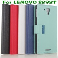 Cass Leather slot wallet cover stand Case for LENOVO S898T + LCD Film