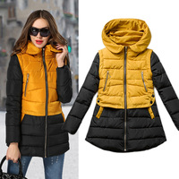 Casual Hooded Winter Women Coat Slim Long Thick Padded Jacket Women Winter Coat Brand YellowAnd Black Patchwork Warm Outerwear95