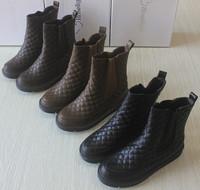 Fashion vintage plaid platform boots medium-leg elastic strap foot wrapping thermal boots free shiping