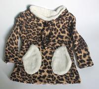 Wholesale(5pcs/lot)- 2015 winter thicken Leopard  pocket base shirt for child girl