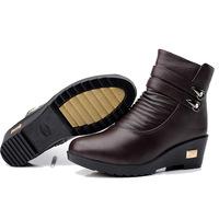2014 winter woman mom large size plus velvet slip waterproof snow boots Genuine Leather size 35 ~ 41