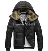 2014 Fashion winter jacket Men Thick down Coat  Fur collar villus fluff parka hooded jackets overcoat Outwear Plus Size Hot Sale