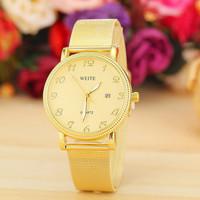 3 Colors Watch Women Golden Watch With Calendar Women Dress Watch Gold Band WEITE Watch Ladies Quarzt Watch AW-SB-1189