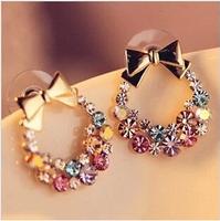 $10 (mix order) New Fashion Imitation Colorful Rhinestone Bow Earrings for women
