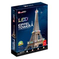 Cubic Fun 3D Puzzle Toys LED Eiffel Tower (France) Model DIY Education Puzzle Gift L091h