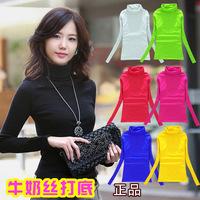 Cotton turtleneck women spring autumn winter basics long t-shirt Tops Tee Women Blouse clothing causal tops