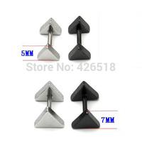 3 5 7 9mm Width Triangle White Black titanium steel Punk Men Screw Back (pierced) Stud earrings 2 colors