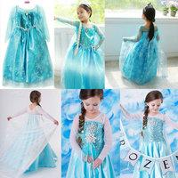 Fashion Baby Girls Frozen Tulle Princess Dresses Costume  Elsa Anna Children Lace Mesh Party Vestido Disfraz Kids Clothing