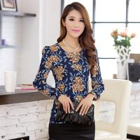 2015 New Listing Korea Fashion Women Tops Slim Fit Retro Printing O-Neck Plus Size Long Sleeve Chiffon T Shirt
