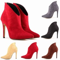 Fashion Designer Women High Heels Pumps Ankle Boots Sexy Women Shoes High Heel Wedding Shoes Short Boots Suede Boots Pumps 35-42