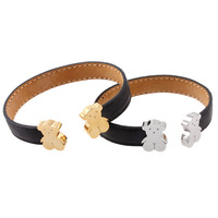 Free Shipping Fashion Jewelry Genuine Black Leather With 316L Stainless Steel Cute Bear Cuff Bangle Bracelet