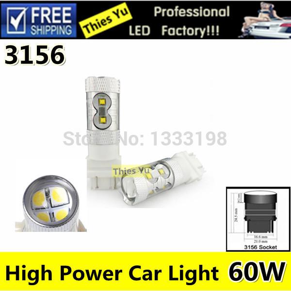 2 Pcs Yellow LED Light Tail Corner Backup Bulbs 3156 60W Reverse Turn Driving Lamp 12V For Car Auto(China (Mainland))