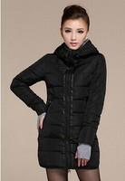 2014 New Fashion Women's Winter Coat Black Cotton-Padded Jacket Winter Medium-long Down Cotton Ladies Jackets And Coats 094L-XXL