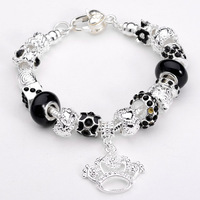 Free shipping!!Hot Wholesale European Murano Glass Beads Sterling Silver Charm Bracelet XB202 For Gift