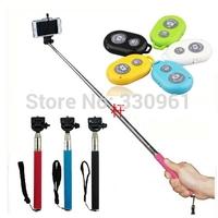 Extendable Self Selfie Stick Handheld Monopod +Clip Holder+Bluetooth Camera Shutter Remote Controller self timer,DHL Free ship