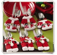 Christmas Decorations Happy Snowman Santa Silverware Holders Pockets Dinner Decor Dinner Cutlery Bag Tableware kitchen