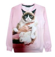 New 2015 women/men novelty GRUMPY CAT print Hoodies Pulloversanimal 3d sweaters sport hip-hop clothes Galaxy sweatshirts