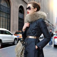 Luxury Brand Designer Winter 90%White Duck Down Coat Plus Size Women's Real Fox Fur Collar Rivet Long Down Jacket Coat Parkas