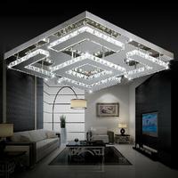 Free shipping large square design modern LED crystal ceiling light for living room lustre de circles indoor lighting for ceiling