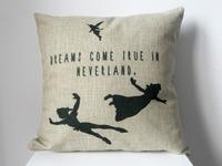"New Cotton Linen Square Throw Pillow Case Sofa Cushion Cover  pillowcase Shell Dream Come True In Neverland 18"""